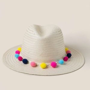 Pom Pom straw hat